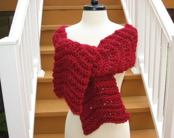 Ripple Scarf with Rosette Blossom, Crochet Pattern pdf, Instant download available