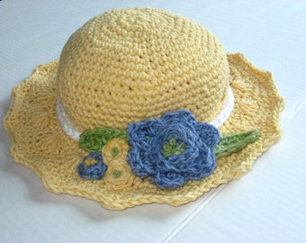 Summer Blooms Sun Hat, Crochet Pattern pdf, instant download available