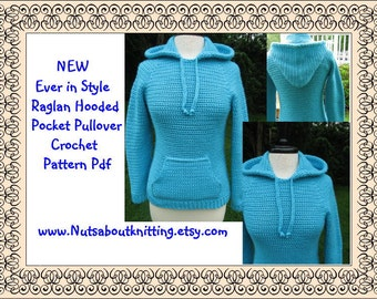 Ever in Style Raglan Hooded Pocket Pullover Crochet Pattern Pdf, Instant Pattern Download Available