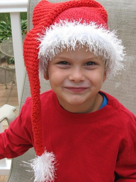 Santa Baby Long Tassle Santa Hat Crochet by nutsaboutknitting