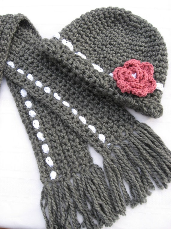Crochet Market Style Hat with Rosette Blossom and Matching Scarf ,Crochet Pattern pdf, Instant Download Available