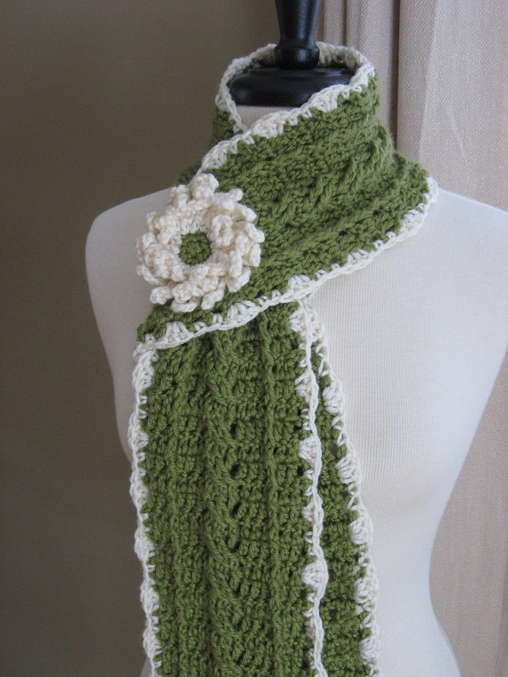 Crochet Pattern pdf Country Crochet Cable Scarf w/ Blossom