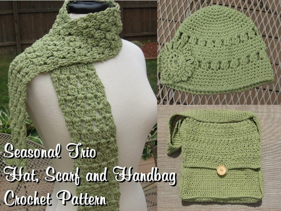Crochet Pattern Hat Scarf Combo : Seasonal Trio Hat Scarf and Handbag Combo Crochet pdf