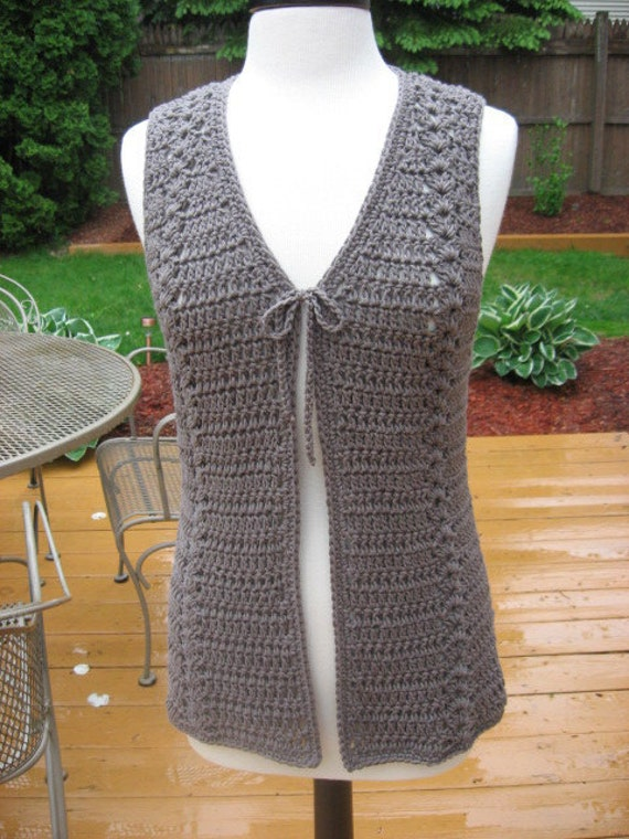Free Crochet Patterns Vests Beginners : Crochet Pattern Meadows Vest with Matching Belt crochet