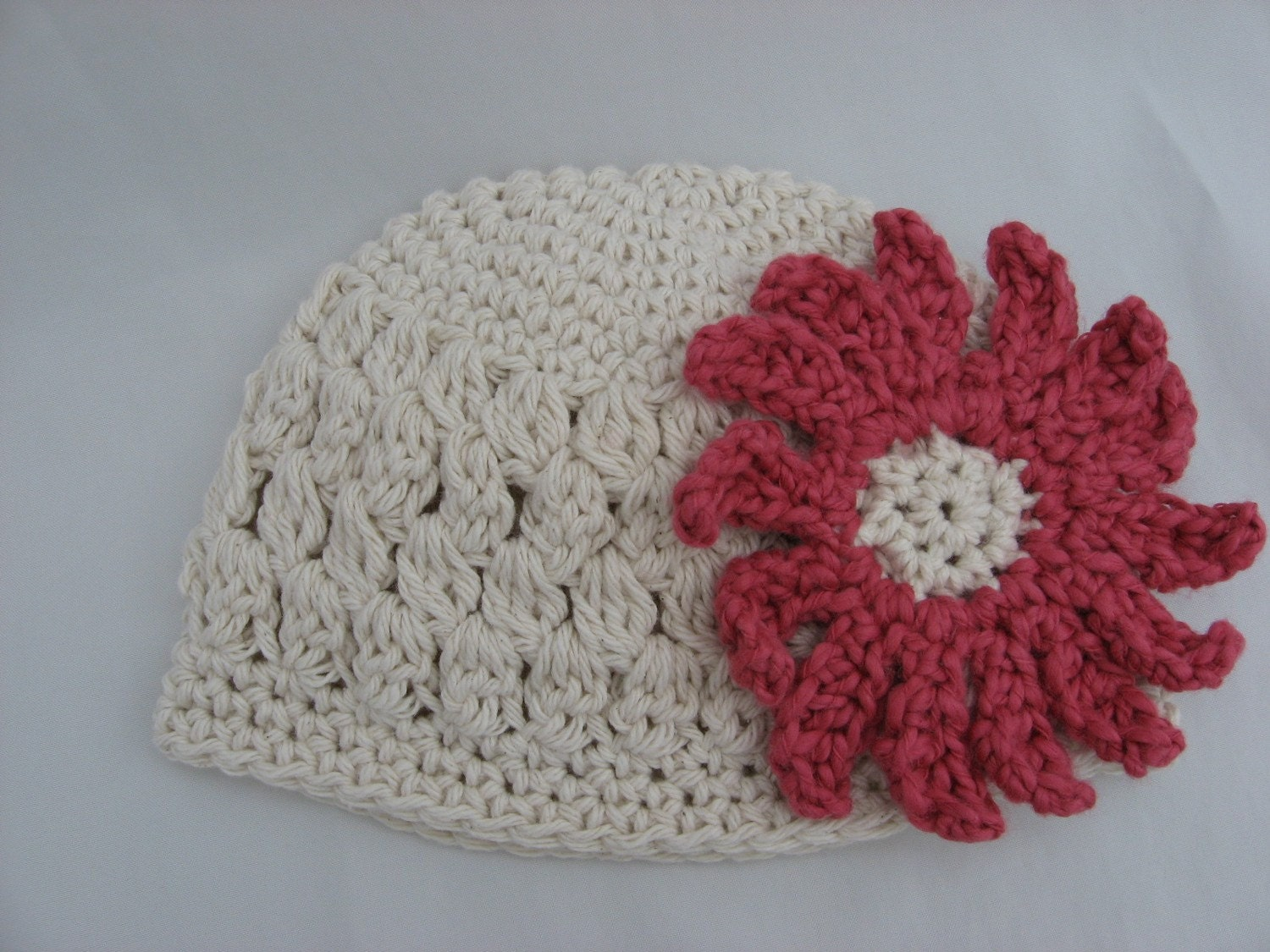 Crochet Flower Puff Pattern : Openweave Puff Stitch Beanie Crochet Pattern Pdf with Two