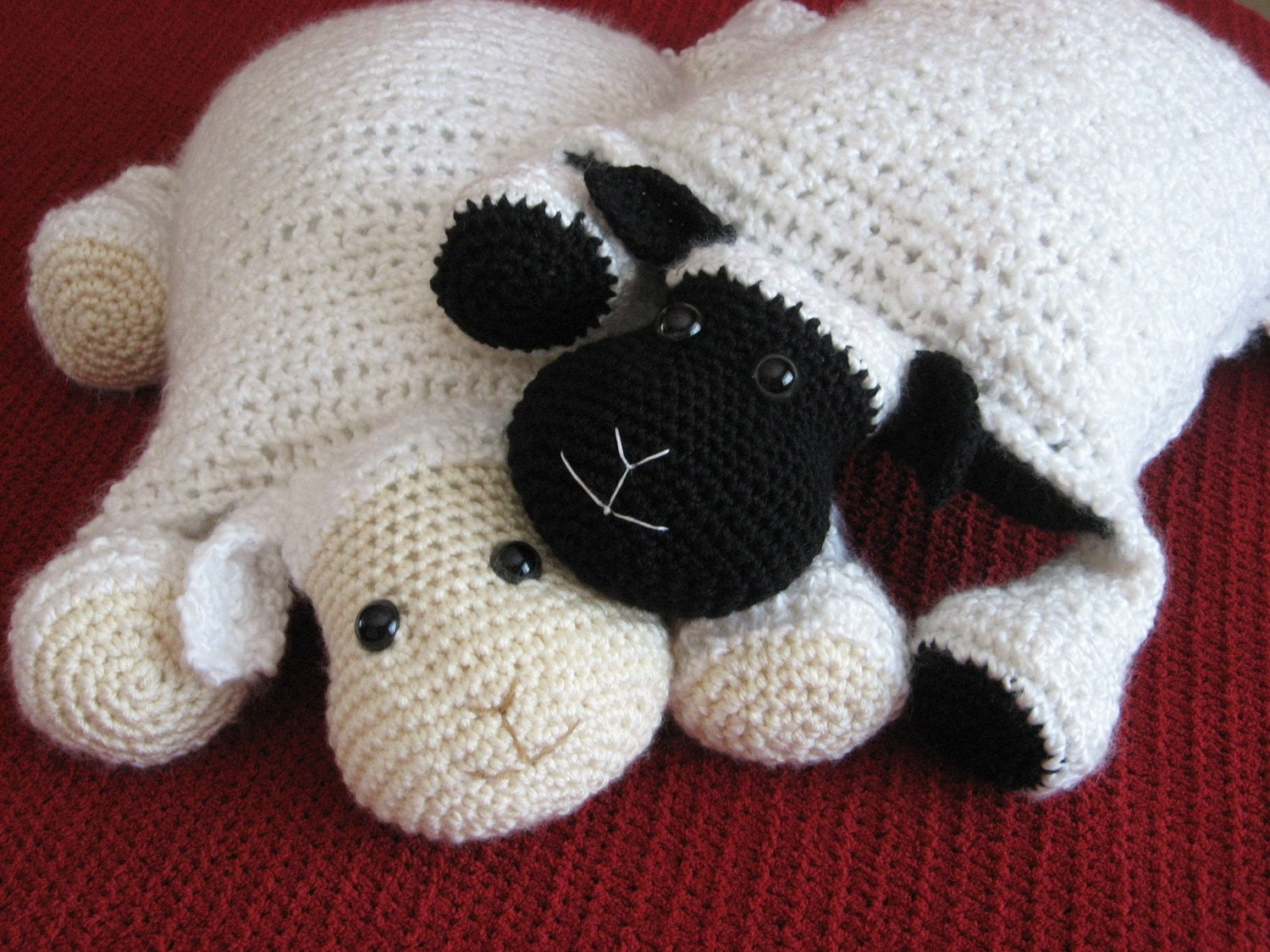 Crochet Pattern For Baby Lamb Hat : Crochet Lamb Cute and Cuddley Crochet Critter Pillow Crochet