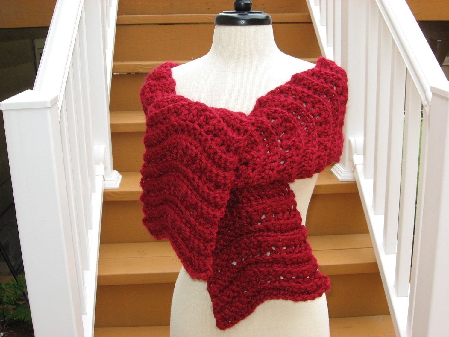 Ripple Scarf with Rosette Blossom Crochet Pattern pdf