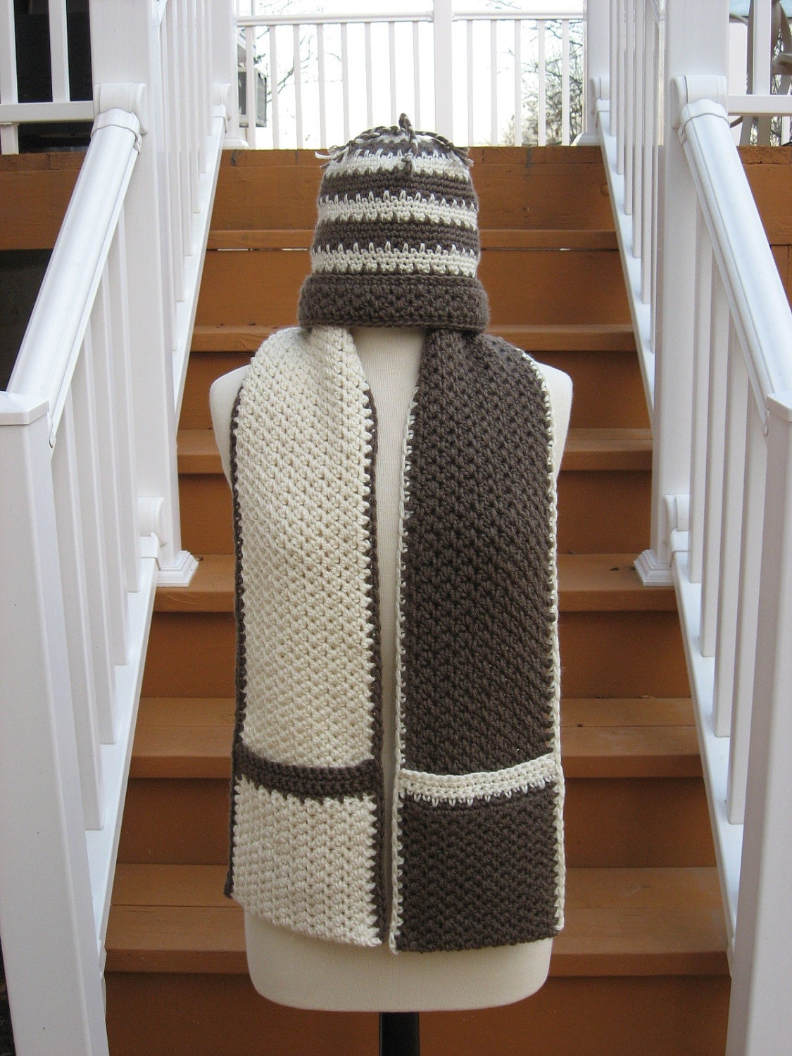 Crochet Pattern Hat Scarf Combo : Hot Chocolate and Vanilla Swirl Hat and Scarf combo pattern