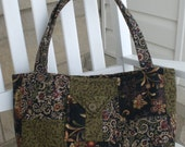 Olive and Navy Tapestry Purse