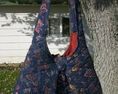 Blue Butterfly Slouchy Bag