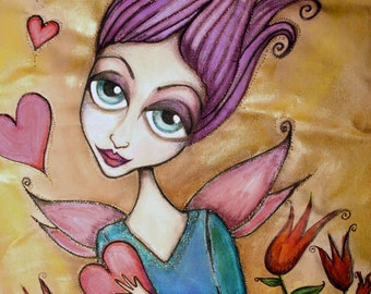 Faerie Love -  Hand Painted, Quilted Fabric Wall Hanging