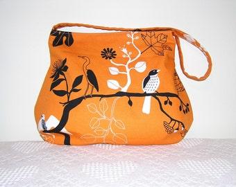 Hobo Shoulder Bag in Ikea Gunilla Orange Birds
