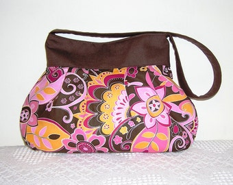 Pleated Hobo Bag in Brown Pink Gold Paisley-MEDIUM