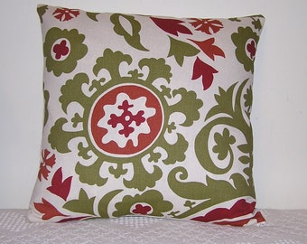 Pillow Suzani Olive ivory Red