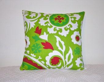 Pillow Chartreuse Lipstick Red Suzani