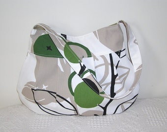 Pleated Hobo Bag in Majken Lime Branches-LARGE