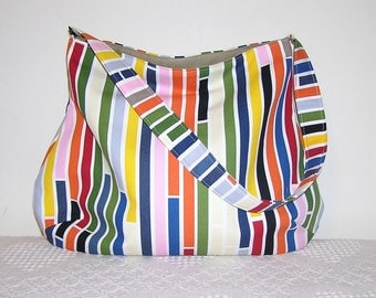 Shoulder Bag Hobo in Ikea Susanna Stripes Multi