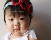 Baby Girl Crochet Flower Headband - Modern Poppy - red, black, soft teal blue