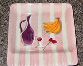 Vintage  ceramic hand painted ASH TRAY with wine bottle and bananas