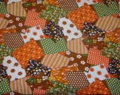 Vintage groovy 60s handmade patch work  QUILT   in cotton tradional colors of flower power love