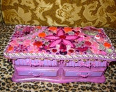 recycled vintage jewelry box HEARTS butterfly s and other charms PRETTY in PINK