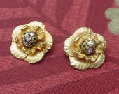 CLIP ON 80's gold flower round earrings with crystal bursts