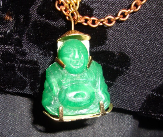 Vintage Laughing Buddha jade necklace for GOOD LUCK on extra long chains of silver gold and copper ON SALEr