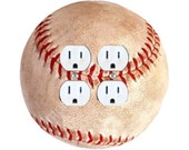 Baseball Ball Double Duplex Outlet Plate Cover