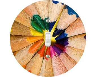 Pencil Color Wheel Single Toggle Switch Plate Cover