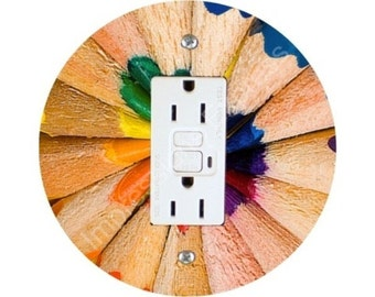 Pencil Color Wheel Grounded GFI Outlet Plate Cover