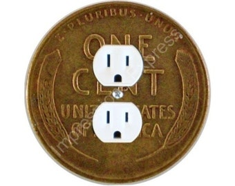 Wheat Penny Coin Duplex Outlet Plate Cover