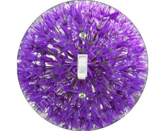 Purple Allium Flower Single Toggle Switch Plate Cover
