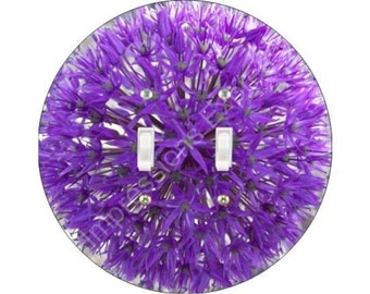 Purple Allium Flower Double Toggle Switch Plate Cover