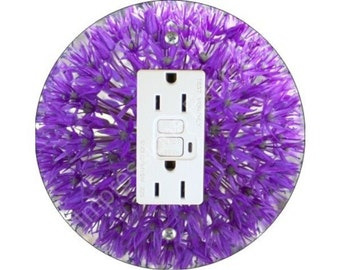 Purple Allium Flower GFI Outlet Plate Cover