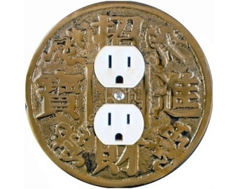 Chinese Fortune Coin Duplex Outlet Plate