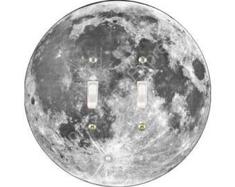 Moon from Space Double Toggle Switch Plate Cover