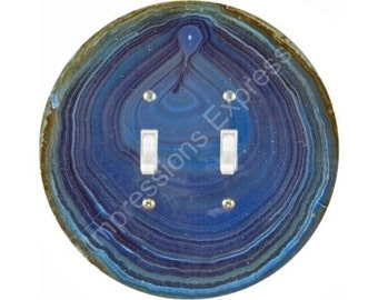Blue Geode Stone Double Toggle Switch Plate Cover