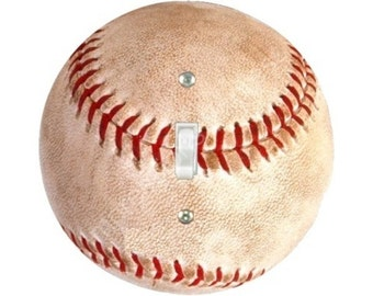 Baseball Ball Single Toggle Switch Plate Cover
