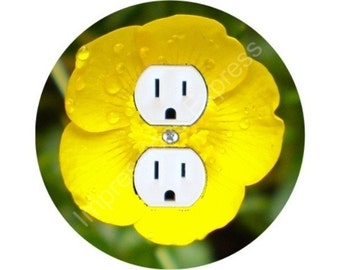Buttercup Flower Duplex Outlet Plate Cover