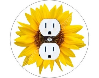 Sunflower Flower Duplex Outlet Plate Cover