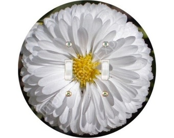 White Daisy Flower Double Toggle Switch Plate Cover