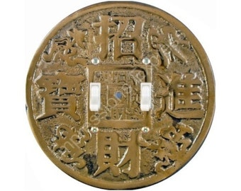 Chinese Fortune Coin Double Toggle Switch Plate Cover