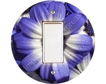 Blue Daisy Flower Decora Rocker Switch Plate Cover