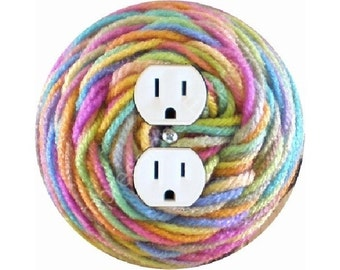 Pastel Knitting Wool Yarn Duplex Outlet Plate Cover