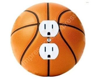 Orange Basketball Duplex Outlet Plate Cover