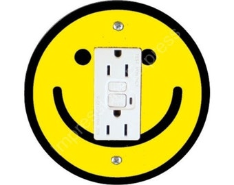Smiley Face Grounded GFI Outlet Plate Cover