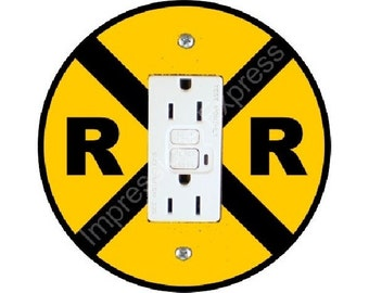 Railroad Crossing Sign GFI Outlet Plate Cover