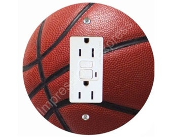 Burgundy Basketball Sports Ball GFI Outlet Plate Cover