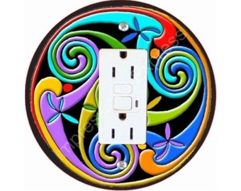 Celtic Triskelion Grounded GFI Outlet Plate Cover