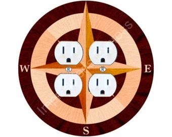 Nautical Compass Double Duplex Outlet Plate Cover
